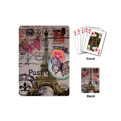 Floral Scripts Butterfly Eiffel Tower Vintage Paris Fashion Playing Cards (Mini)