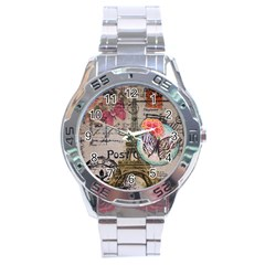 Floral Scripts Butterfly Eiffel Tower Vintage Paris Fashion Stainless Steel Watch (men s)