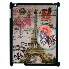 Floral Scripts Butterfly Eiffel Tower Vintage Paris Fashion Apple iPad 2 Case (Black)