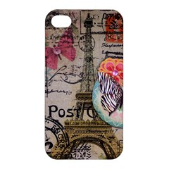 Floral Scripts Butterfly Eiffel Tower Vintage Paris Fashion Apple Iphone 4/4s Hardshell Case