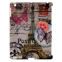 Floral Scripts Butterfly Eiffel Tower Vintage Paris Fashion Apple iPad 3/4 Hardshell Case (Compatible with Smart Cover)