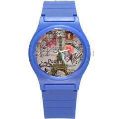 Floral Scripts Butterfly Eiffel Tower Vintage Paris Fashion Plastic Sport Watch (Small)