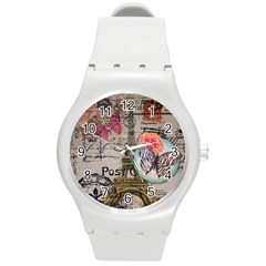 Floral Scripts Butterfly Eiffel Tower Vintage Paris Fashion Plastic Sport Watch (Medium)
