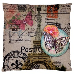 Floral Scripts Butterfly Eiffel Tower Vintage Paris Fashion Large Cushion Case (two Sided)