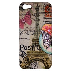 Floral Scripts Butterfly Eiffel Tower Vintage Paris Fashion Apple iPhone 5 Hardshell Case