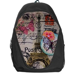 Floral Scripts Butterfly Eiffel Tower Vintage Paris Fashion Backpack Bag