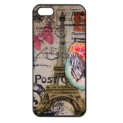 Floral Scripts Butterfly Eiffel Tower Vintage Paris Fashion Apple iPhone 5 Seamless Case (Black)