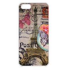 Floral Scripts Butterfly Eiffel Tower Vintage Paris Fashion Apple Iphone 5 Seamless Case (white)