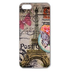 Floral Scripts Butterfly Eiffel Tower Vintage Paris Fashion Apple Seamless Iphone 5 Case (clear)
