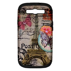 Floral Scripts Butterfly Eiffel Tower Vintage Paris Fashion Samsung Galaxy S Iii Hardshell Case (pc+silicone)