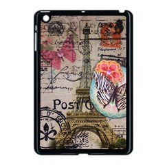 Floral Scripts Butterfly Eiffel Tower Vintage Paris Fashion Apple iPad Mini Case (Black)