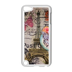 Floral Scripts Butterfly Eiffel Tower Vintage Paris Fashion Apple iPod Touch 5 Case (White)