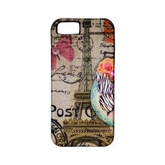 Floral Scripts Butterfly Eiffel Tower Vintage Paris Fashion Apple Iphone 5 Classic Hardshell Case (pc+silicone)