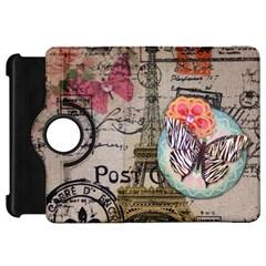 Floral Scripts Butterfly Eiffel Tower Vintage Paris Fashion Kindle Fire Hd 7  Flip 360 Case