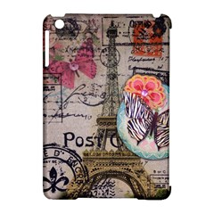 Floral Scripts Butterfly Eiffel Tower Vintage Paris Fashion Apple iPad Mini Hardshell Case (Compatible with Smart Cover)