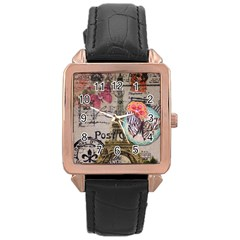Floral Scripts Butterfly Eiffel Tower Vintage Paris Fashion Rose Gold Leather Watch