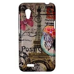 Floral Scripts Butterfly Eiffel Tower Vintage Paris Fashion HTC Desire VT T328T Hardshell Case