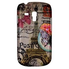 Floral Scripts Butterfly Eiffel Tower Vintage Paris Fashion Samsung Galaxy S3 MINI I8190 Hardshell Case
