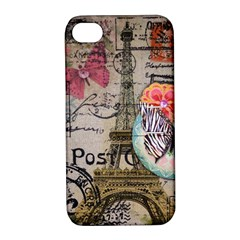 Floral Scripts Butterfly Eiffel Tower Vintage Paris Fashion Apple iPhone 4/4S Hardshell Case with Stand