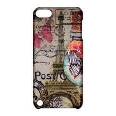 Floral Scripts Butterfly Eiffel Tower Vintage Paris Fashion Apple iPod Touch 5 Hardshell Case with Stand