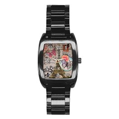 Floral Scripts Butterfly Eiffel Tower Vintage Paris Fashion Men s Stainless Steel Barrel Analog Watch