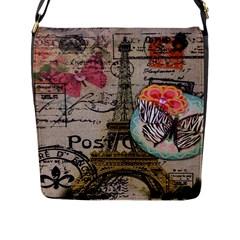 Floral Scripts Butterfly Eiffel Tower Vintage Paris Fashion Flap Closure Messenger Bag (large)