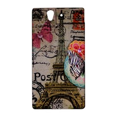 Floral Scripts Butterfly Eiffel Tower Vintage Paris Fashion Sony Xperia Z L36H Hardshell Case