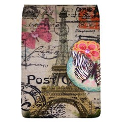 Floral Scripts Butterfly Eiffel Tower Vintage Paris Fashion Removable Flap Cover (Small)