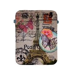 Floral Scripts Butterfly Eiffel Tower Vintage Paris Fashion Apple iPad 2/3/4 Protective Soft Case