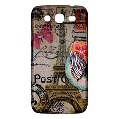 Floral Scripts Butterfly Eiffel Tower Vintage Paris Fashion Samsung Galaxy Mega 5.8 I9152 Hardshell Case