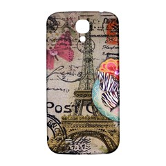 Floral Scripts Butterfly Eiffel Tower Vintage Paris Fashion Samsung Galaxy S4 I9500/I9505  Hardshell Back Case