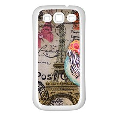 Floral Scripts Butterfly Eiffel Tower Vintage Paris Fashion Samsung Galaxy S3 Back Case (White)