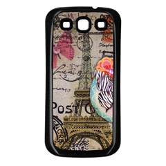 Floral Scripts Butterfly Eiffel Tower Vintage Paris Fashion Samsung Galaxy S3 Back Case (Black)