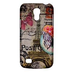 Floral Scripts Butterfly Eiffel Tower Vintage Paris Fashion Samsung Galaxy S4 Mini Hardshell Case