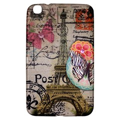 Floral Scripts Butterfly Eiffel Tower Vintage Paris Fashion Samsung Galaxy Tab 3 (8 ) T3100 Hardshell Case