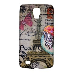 Floral Scripts Butterfly Eiffel Tower Vintage Paris Fashion Samsung Galaxy S4 Active (I9295) Hardshell Case