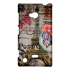 Floral Scripts Butterfly Eiffel Tower Vintage Paris Fashion Nokia Lumia 720 Hardshell Case