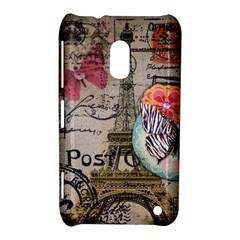 Floral Scripts Butterfly Eiffel Tower Vintage Paris Fashion Nokia Lumia 620 Hardshell Case