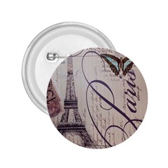 Vintage Scripts Floral Scripts Butterfly Eiffel Tower Vintage Paris Fashion 2.25  Button