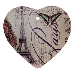 Vintage Scripts Floral Scripts Butterfly Eiffel Tower Vintage Paris Fashion Heart Ornament