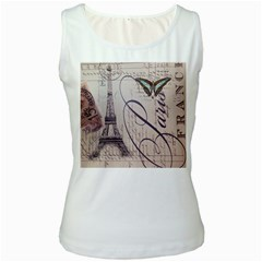 Vintage Scripts Floral Scripts Butterfly Eiffel Tower Vintage Paris Fashion Womens  Tank Top (white)