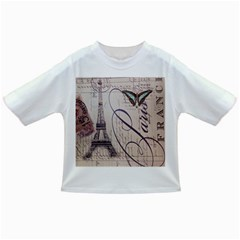 Vintage Scripts Floral Scripts Butterfly Eiffel Tower Vintage Paris Fashion Baby T Shirt