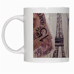 Vintage Scripts Floral Scripts Butterfly Eiffel Tower Vintage Paris Fashion White Coffee Mug