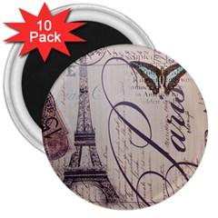 Vintage Scripts Floral Scripts Butterfly Eiffel Tower Vintage Paris Fashion 3  Button Magnet (10 Pack)