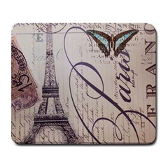 Vintage Scripts Floral Scripts Butterfly Eiffel Tower Vintage Paris Fashion Large Mouse Pad (rectangle)