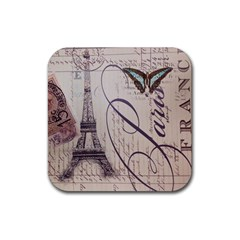 Vintage Scripts Floral Scripts Butterfly Eiffel Tower Vintage Paris Fashion Drink Coasters 4 Pack (Square)