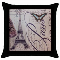Vintage Scripts Floral Scripts Butterfly Eiffel Tower Vintage Paris Fashion Black Throw Pillow Case