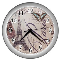 Vintage Scripts Floral Scripts Butterfly Eiffel Tower Vintage Paris Fashion Wall Clock (Silver)