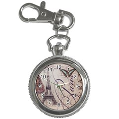 Vintage Scripts Floral Scripts Butterfly Eiffel Tower Vintage Paris Fashion Key Chain & Watch