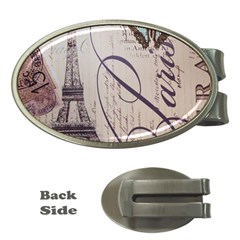 Vintage Scripts Floral Scripts Butterfly Eiffel Tower Vintage Paris Fashion Money Clip (Oval)